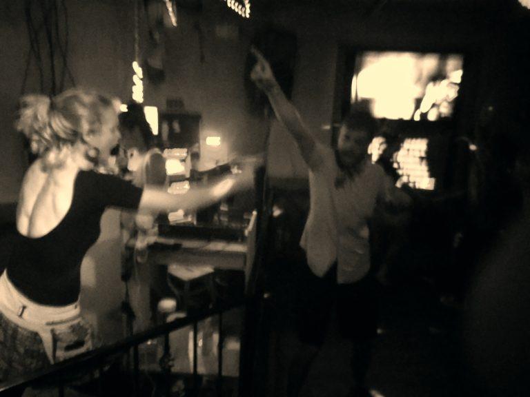 Lelia and Sam doing Karaoke in Billings
