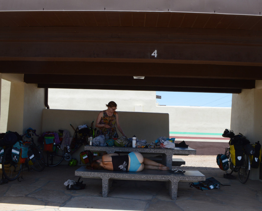 Splayed out at a rest stop