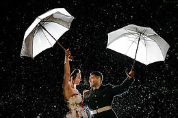 Bride and groom against a starry sky during their twilight wedding