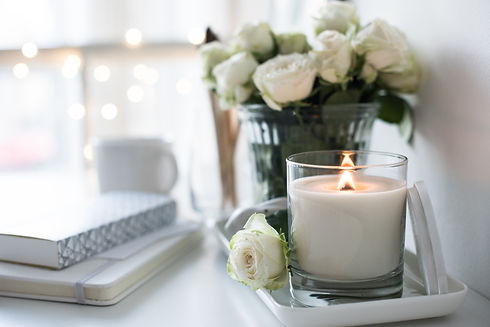 White room interior decor with burning h