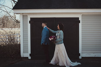 first look bride with jean jacket Maine wedding