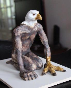 Ceramic eagle man