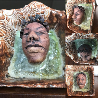 Ceramic, glass, face, art
