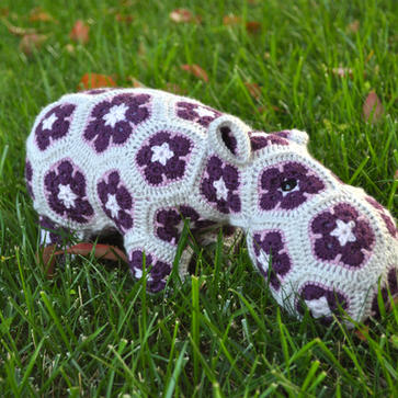 African Flower Hippo Crochet Stuffed Animal