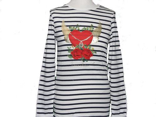 t-shirt marin manches longues Coeur ailé chaîne et roses