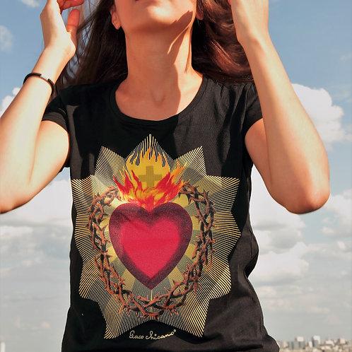 t-shirt noir Coeur sacré et couronne d'épines paco chicano