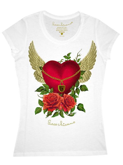 t-shirt coeur ailé et roses paco chicano