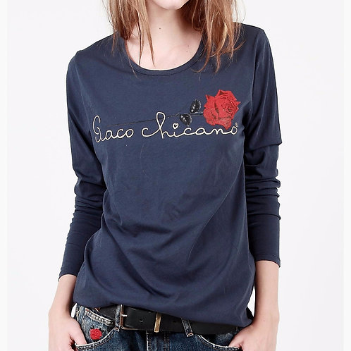 t-shirt marine signature et rose paco chicano