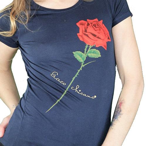 t-shirt rose oblique et signature