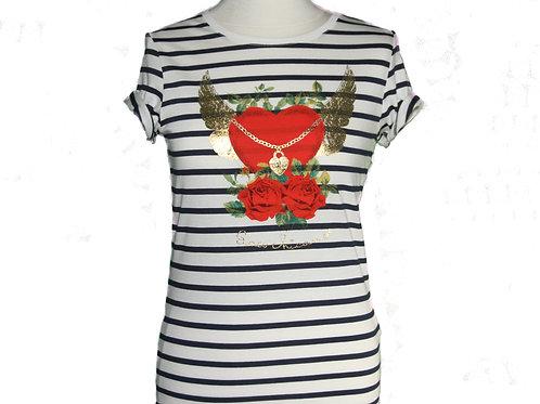 t-shirt marin Coeur ailé chaîne et roses
