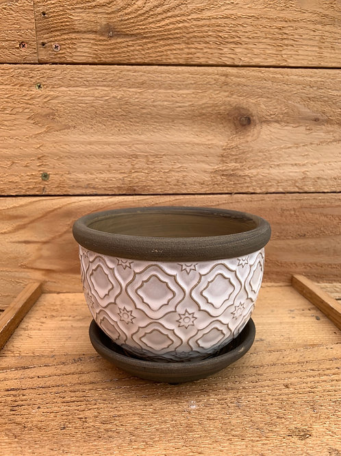 6in. Medallion Tile Planter w/ Attached Saucer