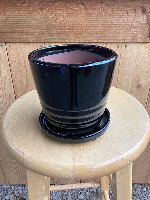 """5"""" Verandah Black Kona Ceramic Pot"""