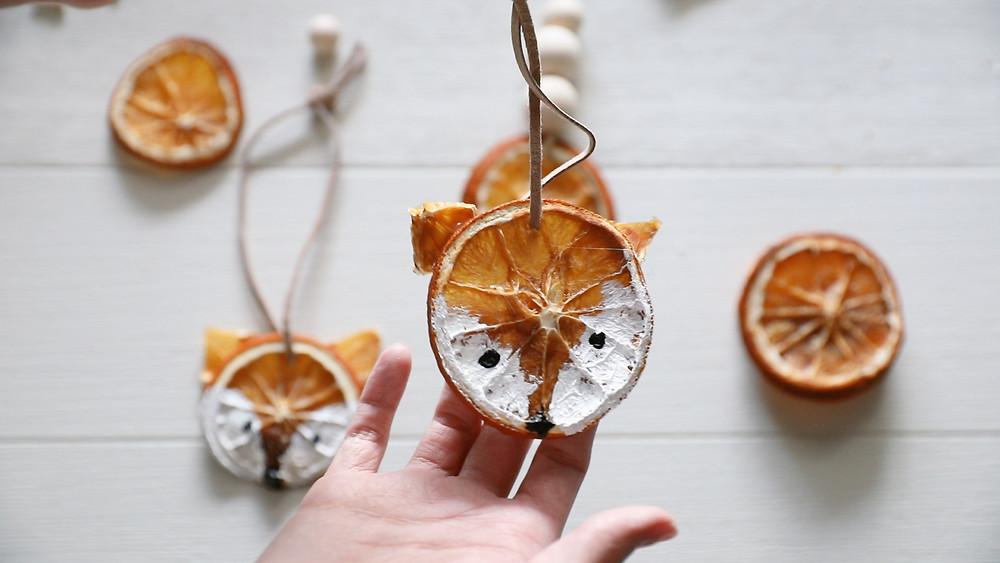 Dried Orange Fox Ornament