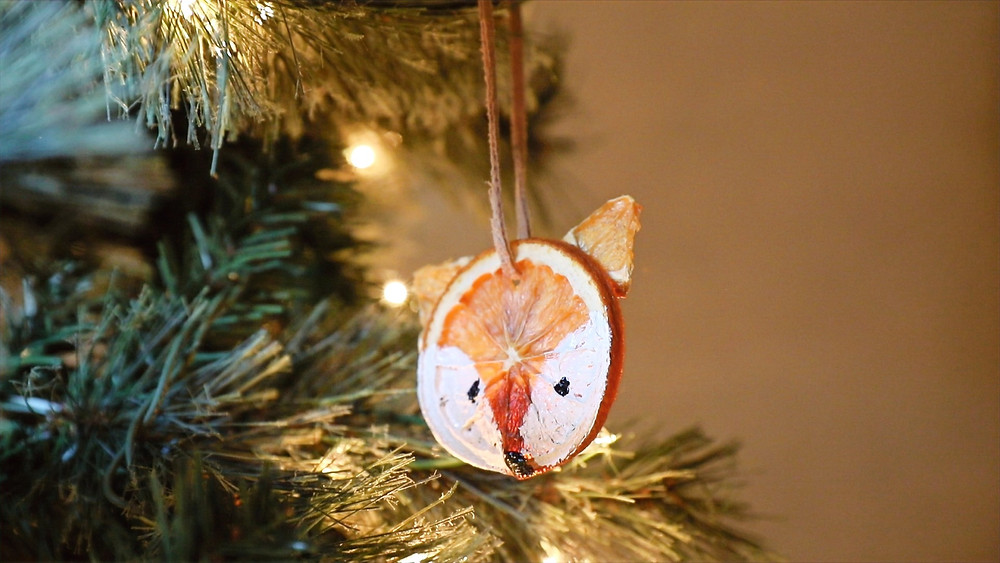 Dried Orange Slice Fox Ornament for Christmas