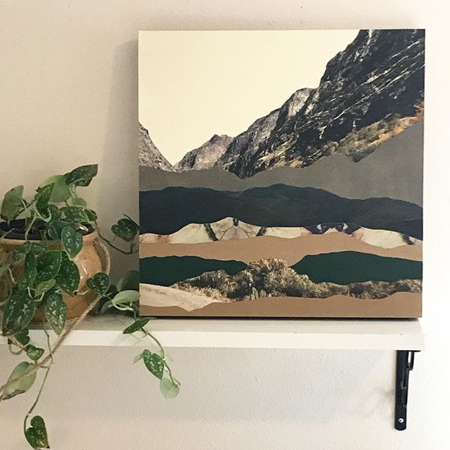 "Middle Fork of the Salmon in Spring, Cut paper collage on wood panel, 18"" x 18"", Currently on display at Evermore Gallery"