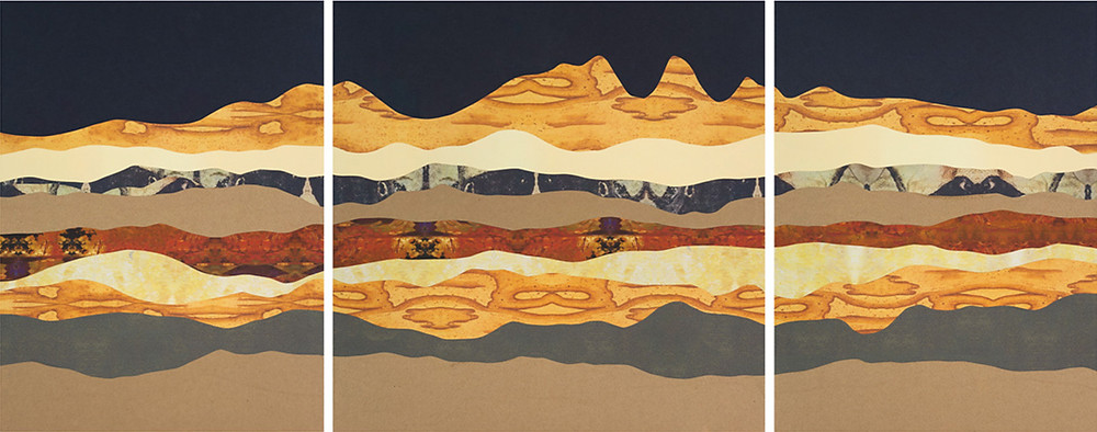 "Boise Foothills in Moonlight I-III, Cut paper collage on wood panel, 24"" x 18"", 24"" x 24"", 24"" x 18"", Available"