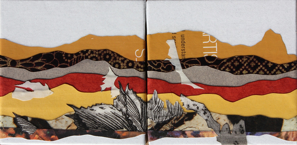 """View from Drewsey Junction I & II, Cut paper on canvas (gallery wrapped), 4"""" x 4"""" each"""