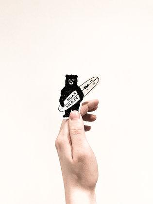 Grumpy surf bear sticker
