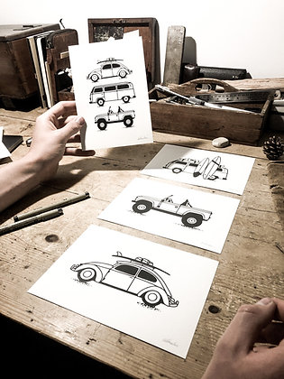 The adventure wagon pack x4 -signed a5 prints