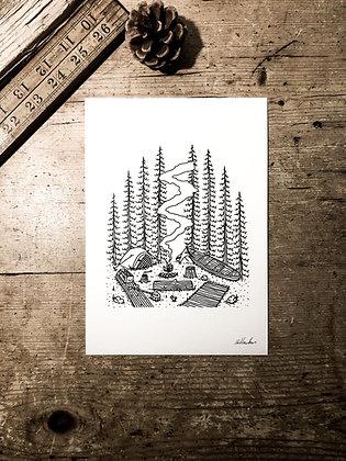 Canoe camp - Signed a5 print