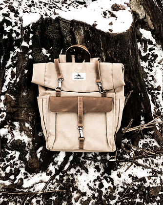 Rustic canvas Wax backpack - Sand