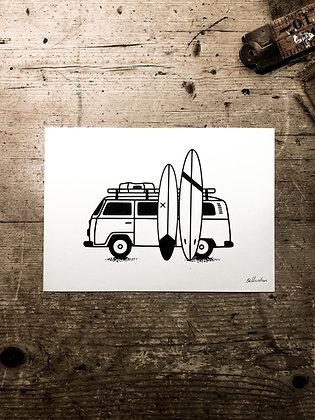 Surf bus safari -Signed a5 print