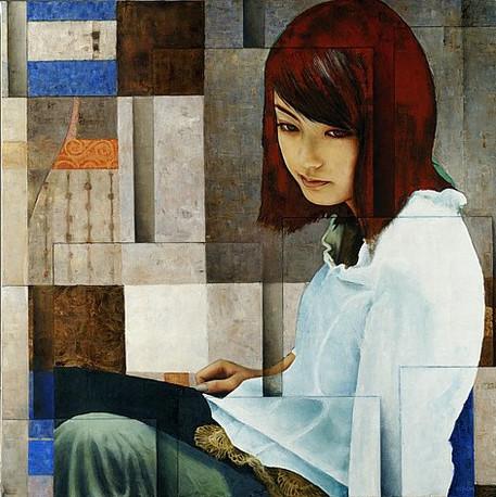 Ragazza - huile sur toile / oil on canvas 100cm x 100cm