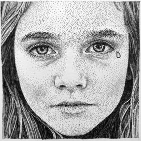 Baby don't cry - Dessin à l'encre noire sur papier - 14cm x 14cm / 33,5 cm x 33,5 cm avec cadre