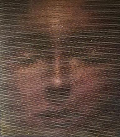 Vibrazioni - Huile sur grillage métallique et toile - 90cm x 80cm x 3cm