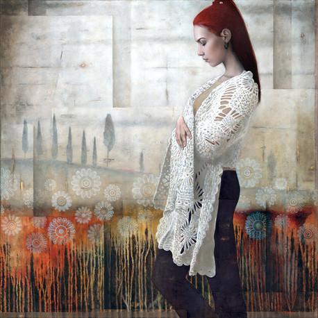 La passeggiata - huile sur toile / oil on canvas 100cm x 100cm