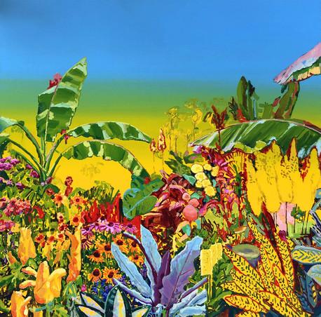 JARDIN CON FONDO AMARILLO - huile sur toile / oil on canvas - 150cm x 150cm