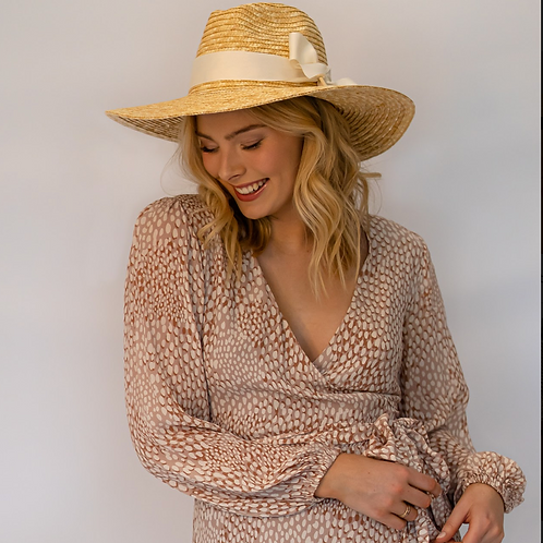 100% Wheat Straw Panama Ultrawide brim- natural  straw-Optional Off white Ribbon