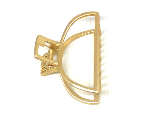 Large Hair Claw Clip Open Shape in Brushed Gold