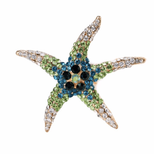 Brooch Starfish Green