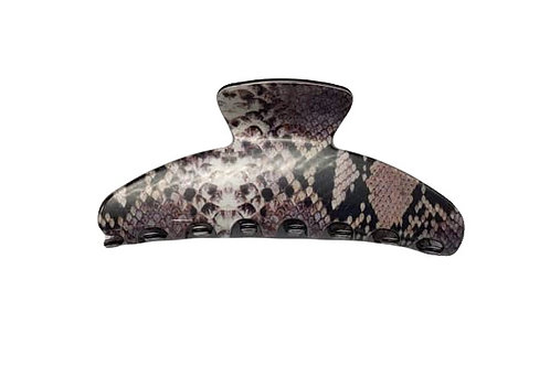 Premium extra large hair claw in Snake Brown