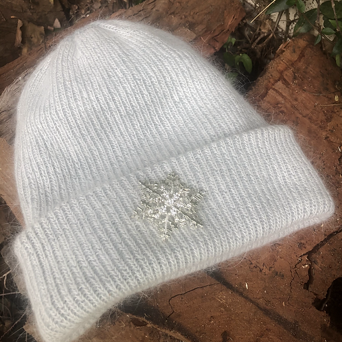 Angora Blend Beanie with SnowFlake- Grey