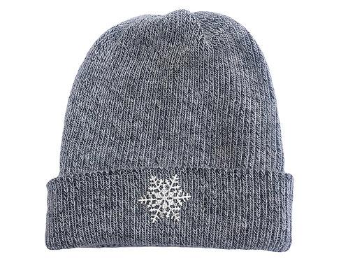 Angora Blend Beanie with SnowFlake- Charcoal