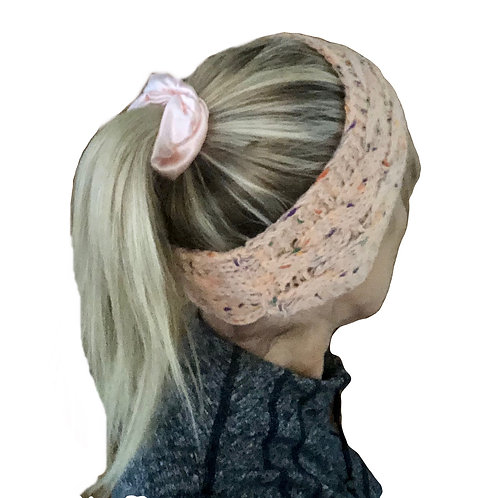 Knitted Cable Woolblend Headband - Pink Fleck