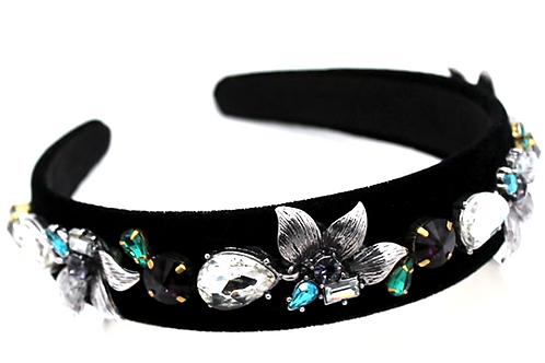Premium Handmade Black  Rhinestone encrusted Headband