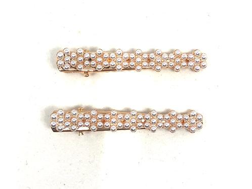 Pearl Bar Hair pin Gold - 2pce