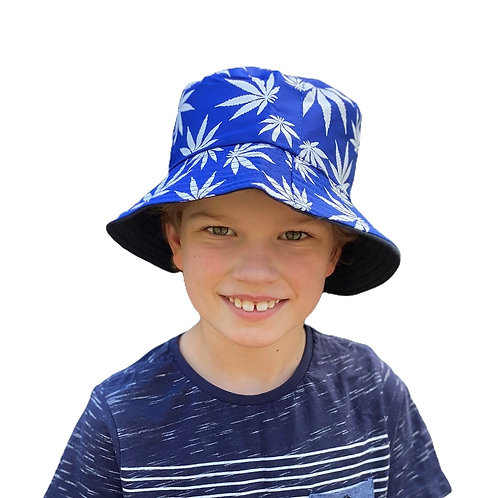 Bucket Hat - reversible- Blue Palm/Black