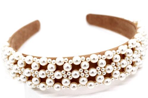 Premium Handmade Pearl & Nude Headband