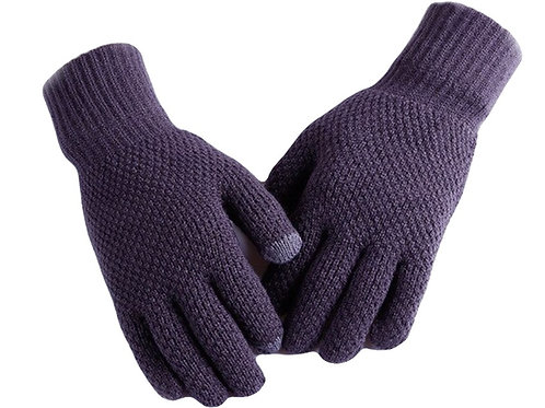 Mens Woolblend Touchscreen gloves - Dark Grey