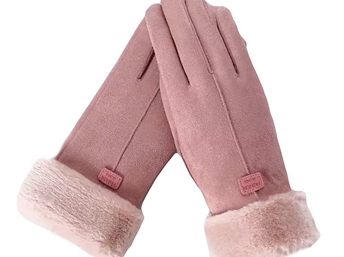 Faux SuedeTouchscreen Gloves- Pink