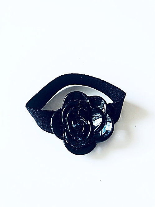 Black Crystal Flower-Black/ Charcoal Band