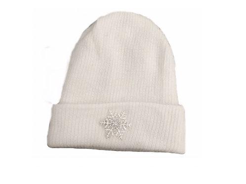 Angora Blend Beanie with SnowFlake- White