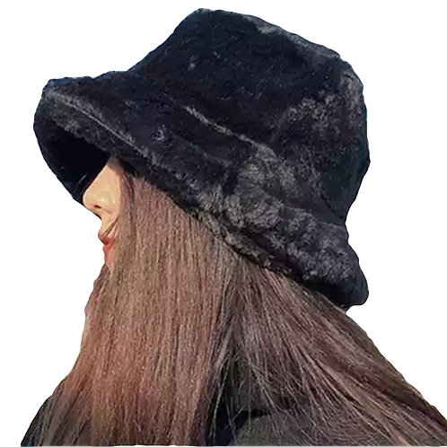 Hat -Faux Fur Bucket - Black