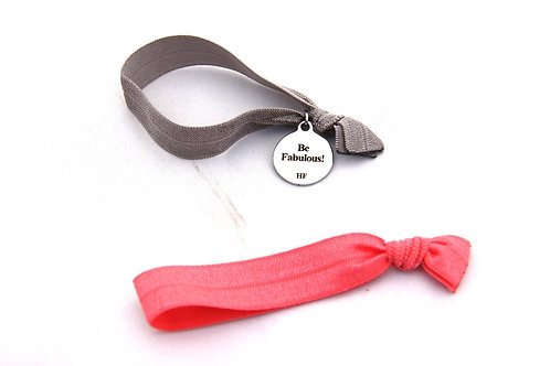 Charm Tie- Be Fabulous!- Silver & Coral pink