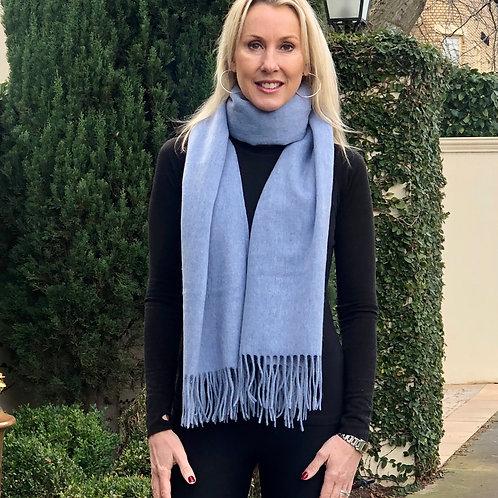 Premium Virgin 100% Wool Blanket Scarf- Hazy Blue
