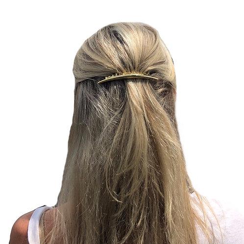 Metal hair comb in matt gold